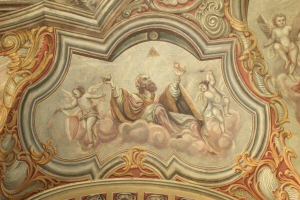 Św. Augustyn z Hippony Ojciec i Doktor Kościoła. Północna strona nawy.